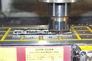 cnc machining half inch metal plate on eepm workholding magnet