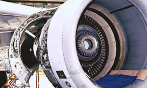 jet engine open to show internal mechanisms
